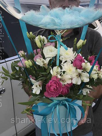 Букет в коробочке с цветами и Шар Баблс с индивидуальной надписью и перьями 10, фото 2