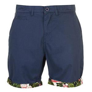 Мужские синие хлопковые шорты Pierre Cardin AOP Turn Up под ремень с подворотом оригинал