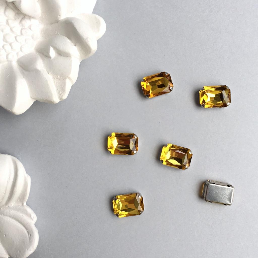 Кристали Прямокутник 13х18 мм в цапах. Колір: Golden yellow (Жовте золото)
