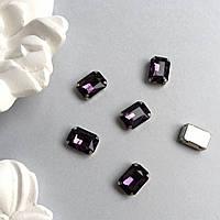 Кристаллы Прямоугольник 13х18 мм в цапах. Цвет: Deep purple (глубокий фиолетовый)