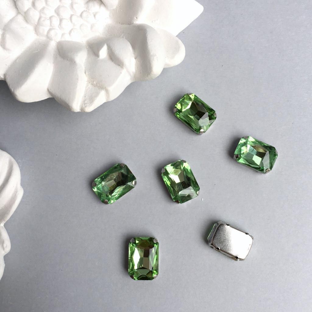 Кристаллы Прямоугольник 13х18 мм в цапах. Цвет: Light green (Салатовый)