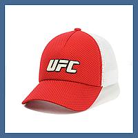 Кепка- бейсболка с сеткой и резиновым патчем UFC Красный