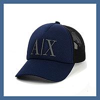 Кепка- бейсболка с сеткой и резиновым патчем Armani Exchange синий