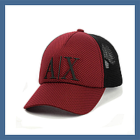 Кепка- бейсболка с сеткой и резиновым патчем Armani Exchange бордовый