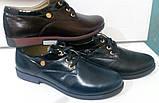 Туфли женские на удобном каблуке из натуральной кожи черного цвета от производителя модель ДИС373Ч, фото 6