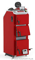 Котел твердотопливный DEFRO Optima Komfort PLUS (с автоматикой) 30 кВт. красно-серый