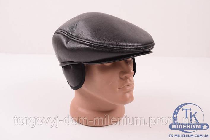 Кепка мужская из кожезаменителя  на меху кепка, фото 2