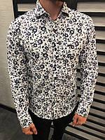Рубашка мужская белая / ЛЮКС КАЧЕСТВО / весна лето / мужская рубашка белая с рисунком