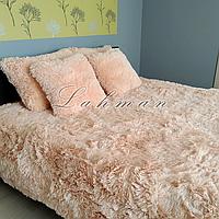 Чехол для подушки травка  50х70 см. | Декоративные пушистые наволочки для интерьера, цвет персиковый
