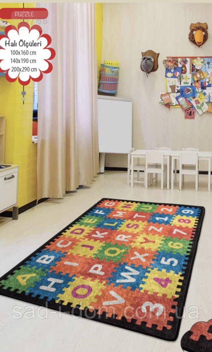 Коврик в детскую комнату, детский ковер 100*160 см, Пазлы