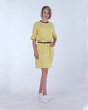 Женское летнее платье желтое  оверсайз размеры 40-46