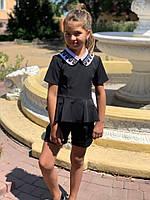 Костюм школьный с шортами для девочки Рост 122 128 134 140 146 В наличии 2 цвета