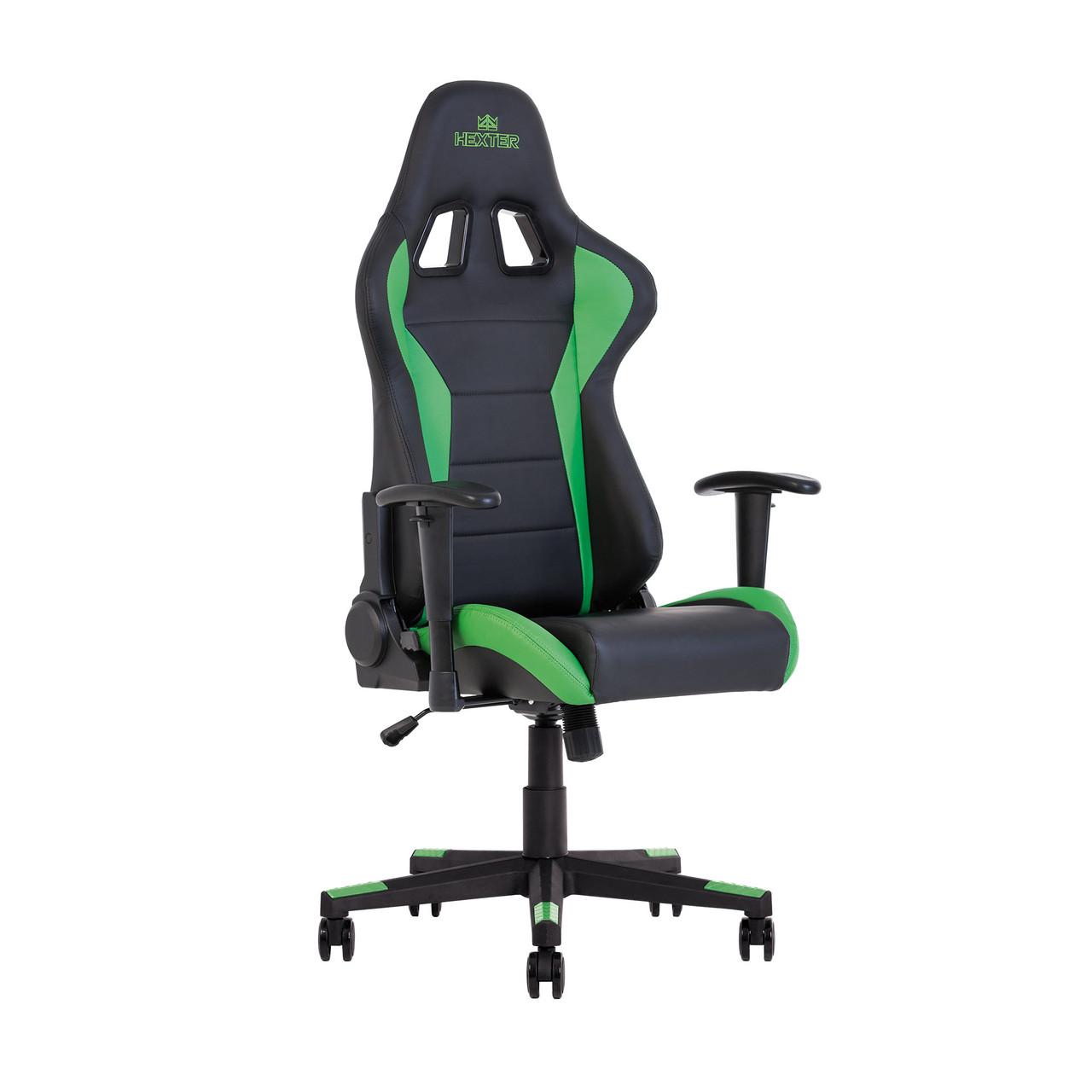 Кресло игровое Hexter ML R1D TILT PL70 ECO/01 BLACK/GREEN (черное/зеленые вставки)