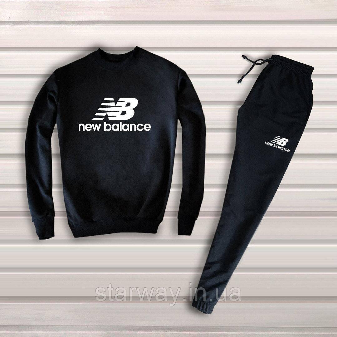Спортивный чёрный костюм New Balance logo топ