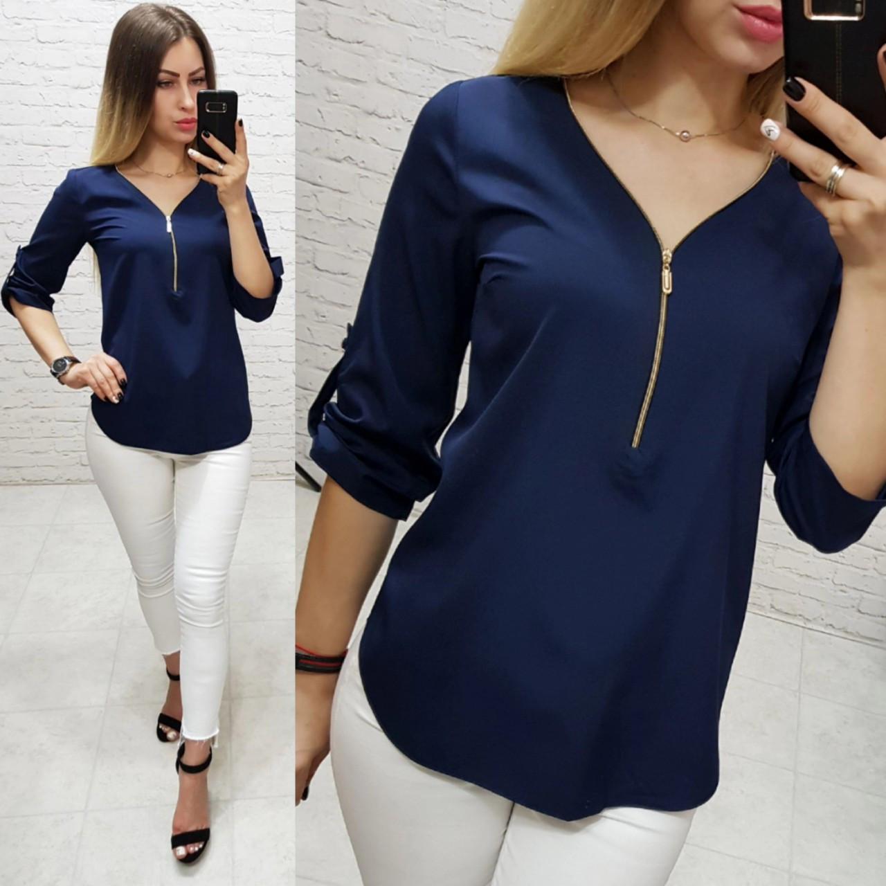 Блузка 158 Ткань: арт 158 синий темный