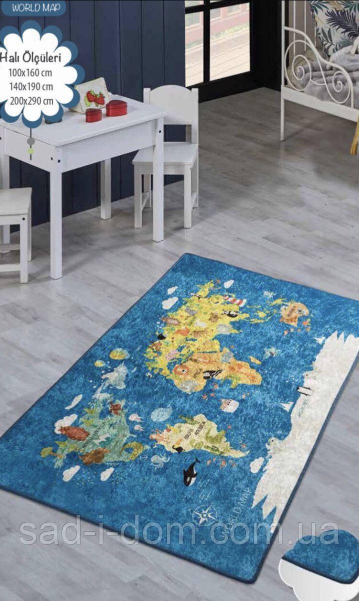 Коврик в детскую комнату, детский ковер 140*190 см, Карта Мира