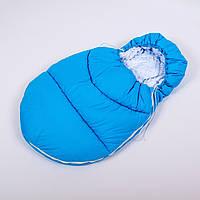 Конверт - кокон зимний BabySoon 45смх85см Умка Голубой стеганый с белым плюшем, фото 1