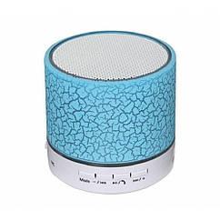 Колонка mini портативна GETIHU світлодіодна з TF, USB FM Блакитний