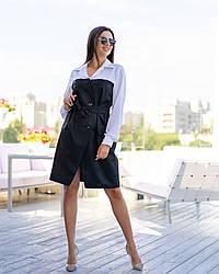 Стильное офисное платье Полоска 5007