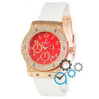 Часы Hublot Big Bang Crystal Women White-Gold-Red