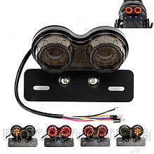 Универсальный задний led фонарь дымчатый (3 в 1) : Стоп сигнал, повторители поворотников, подсветка номера