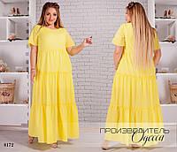 Платье длинное летнее шифон+подкладка 50-52,54-56,58-60,62-64