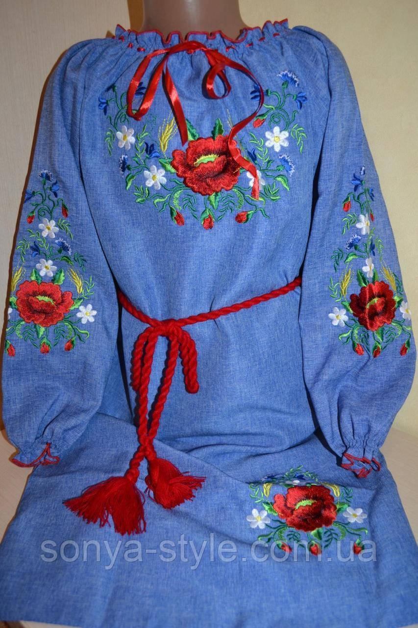 """Платье вышиванка """"  цветы""""  на девочку"""