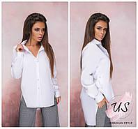 Женская белая ассиметричная рубашка. Размеры!, фото 1