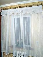 Готовая пошитая тюль из шифона с ламбрекеном белая 170*300, фото 1