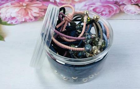 Набор цветных резинок с камнями и бусинами, 20 штук, фото 2