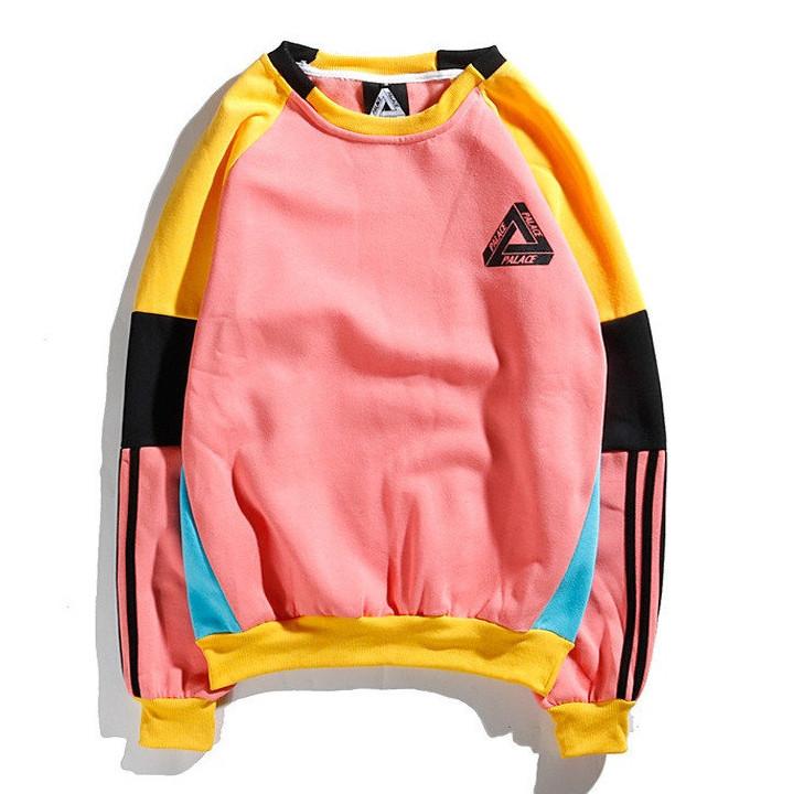 Свитшот унисекс в стиле Palace & Adidas Crewneck розовый