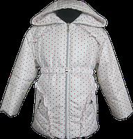 Куртка для девочки белая в красный горошек. 86, 92, 98, 104, 110