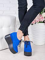 Туфли на высокой платформе синие натуральная замша 7020-28