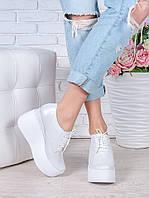 Женские туфли на высокой платформе цвета шампань натуральная кожа 7022-28