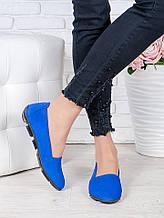 Жіночі туфлі мокасини синя замша 7024-28