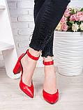 Женские туфли на каблуке красная кожа 7073-28, фото 2