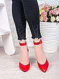 Женские туфли на каблуке красная кожа 7073-28, фото 3