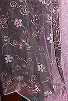 Готовая пошитая тюль сетка розовая 170*300