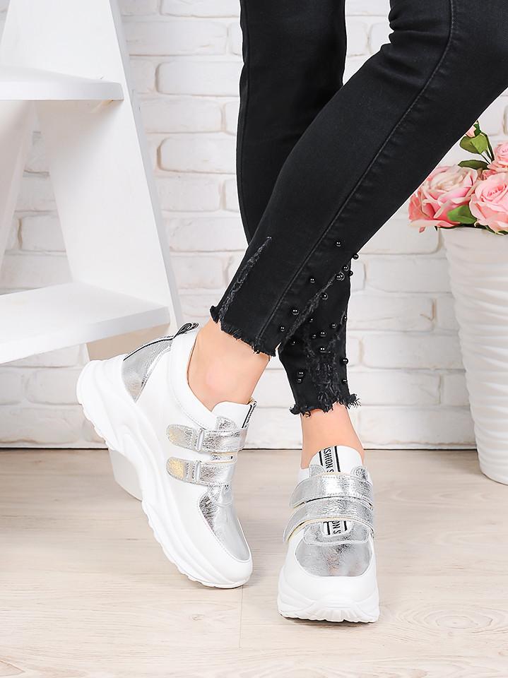 Женские кроссовки натуральная кожа белые с серебром Стелла 7078-28