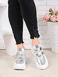 Женские кроссовки натуральная кожа белые с серебром Стелла 7078-28, фото 2