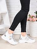 Женские кроссовки натуральная кожа белые с серебром Стелла 7078-28, фото 3