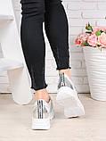 Женские кроссовки натуральная кожа белые с серебром Стелла 7078-28, фото 4