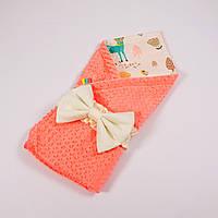 Демисезонный плюшевый конверт - одеяло на выписку BabySoon Лесные истории с плюшем лососевого цвета 78 х 85см , фото 1