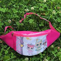 Детская сумка на пояс бананка для девочек с куклой