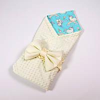 Демисезонный плюшевый конверт - одеяло на выписку BabySoon Сказочные лошадки 78 х 85см , фото 1