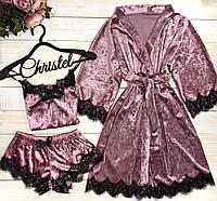 Бархатный пудровый набор халат+ пижама с кружевом