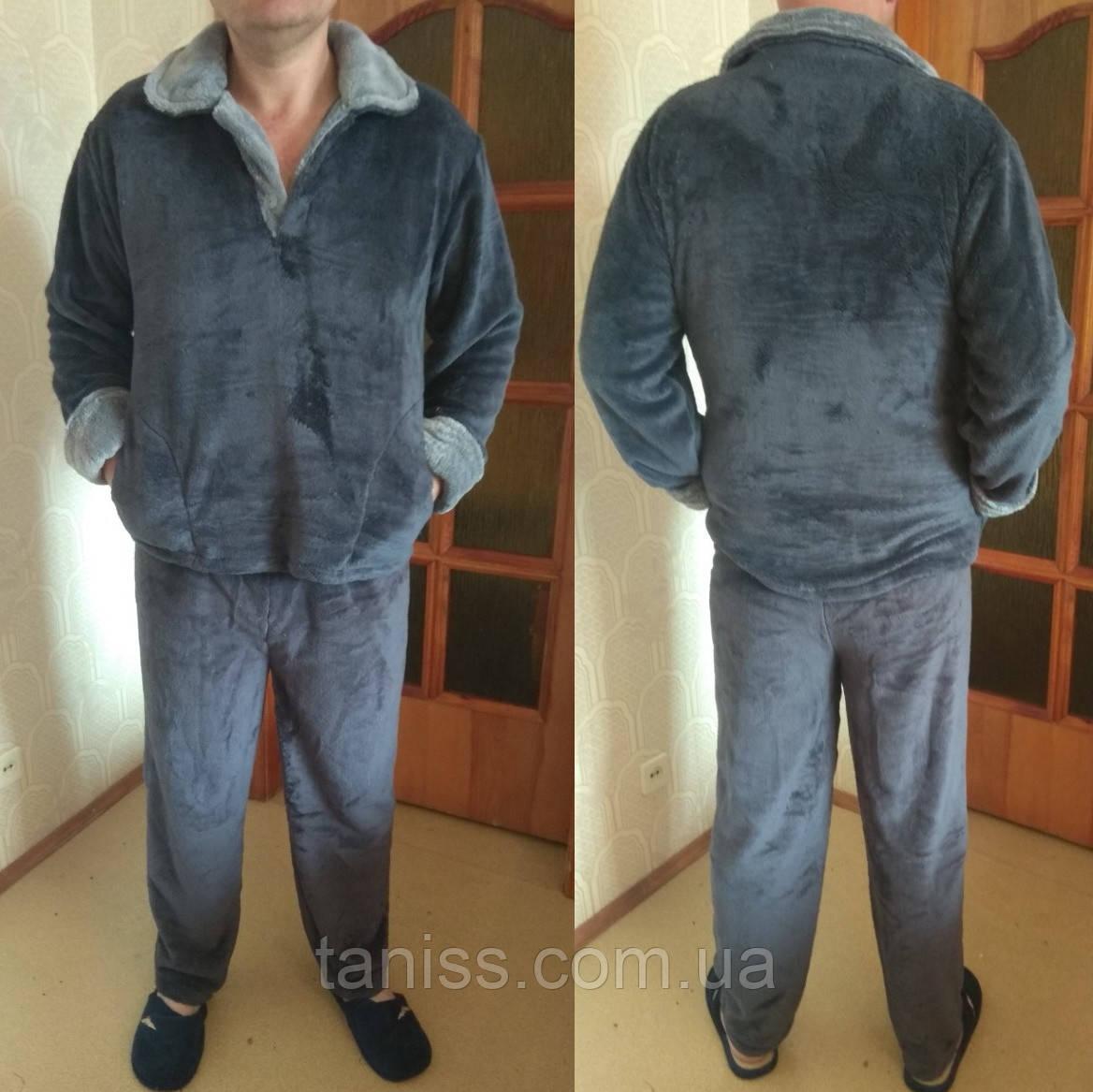 Теплая зимняя мужская махровая пижама, домашний теплый костюм, р-р Л (48-50), ХЛ (52-54) серая