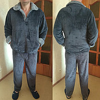 Теплая зимняя мужская махровая пижама, рукава с подворотом, верх на пуговицах р-р Л (50-52) и ХЛ (54-56)