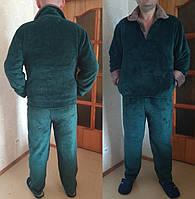 Теплая зимняя мужская махровая пижама, рукава с подворотом, верх на пуговицах р-р Л (50-52)  зелен
