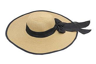 Женская летняя пляжная шляпа от солнца с широкими полями бежевого цвета с бантом